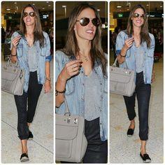 #AlessandraAmbrosio #alebyalessandra #denimjacket #airport #cute #victoriassecret #vsangel #angel #baby #fashion #style #celebrity #celebritylook #fashionicon #beautiful #pretty #stylish #lookbook #look #ootd #outfit #heels #shoes #nofilter #girl #makeup... - Celebrity Fashion