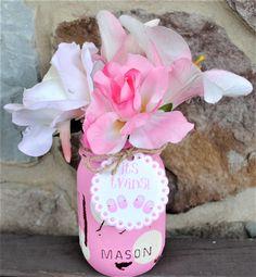 Twin Girls Baby Shower Mason Jar, Baby Girl Shoes Tag, It's Twins Shower Tag, Pink Mason Jar Baby Shower Vases, Twin Girls Baby Shower Decor by charmcitycharm on Etsy