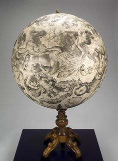 Celestial sphere. European celestial globe (view 2), 1878.  This globe features beautiful constellation figures such as Taurus the Bull and Aries the Ram. The star patterns are the reverse of what we see in the night sky, because many celestial globes depict the sky as if you were outside a sphere, looking down.