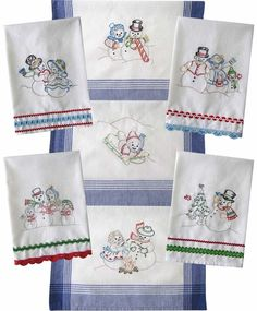 "Hand embroidery iron-on patterns are 6"" tall. Snowman are embroidered using  metallic thread. Towels can be trimmed with rick rack that is embellished  with embroidery stitching, all instructions are included."
