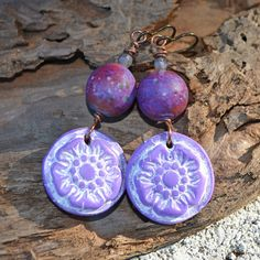 Purple Passion Flower Lampwork and Polymer by KristiBowmanDesign, $39.00 #wanderingspirit