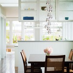 the remodeled dining room of a victorian home.