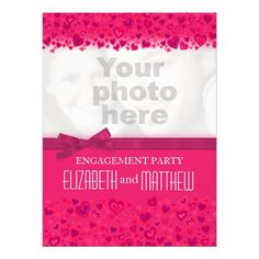 Engagement party pink hearts your photo invitation design by www.sarahtrett.com