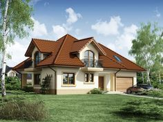 DOM.PL™ - Projekt domu DA Minor 2 CE - DOM DS1-47 - gotowy koszt budowy House Construction Plan, Bungalow House Plans, Little Houses, Home Fashion, Sweet Home, Exterior, House Design, Cabin, Mansions