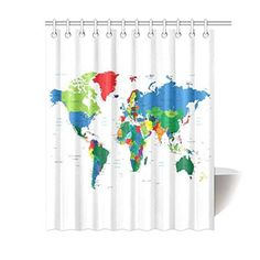 MYPOP Home Bathroom Decor Watercolor World Map Countries Shower Curtain Hooks 60 X 72 Inches-Colorful Fabric Vintage World Map Antique Watercolor Art French Country House, French Country Decorating, Water Color World Map, Shower Curtain Hooks, Bathroom Countertops, Rustic Decor, Vintage World Maps, Watercolor Art, Countries