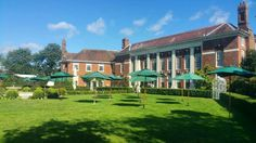 This #Furniture #Friday our Green Parasols with bases fitted perfectly into the beautiful grounds at Quendon Hall, ready for a sunny #weekend.  #TGIF #summer #events #wedding www.alfrescohire.co.uk 01279 870997