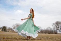 Vintage prairie dress green gingham frontier by RoseleinRarities