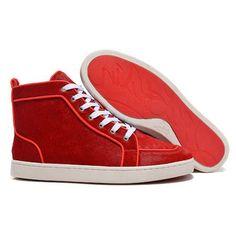 e52b3268204 Christian Louboutin Rantulow High Top Sneakers Red Pony Hair Runway  Fashion