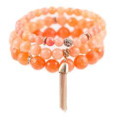 Coral Color Karma Bracelet Set