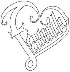of the Family design from 28 September 2014 Heart Coloring Pages, Quote Coloring Pages, Printable Adult Coloring Pages, Colouring Pages, Coloring Books, Graffiti Lettering, Gothic Lettering, Paper Embroidery, Embroidery Designs