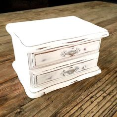 White Jewelry Box / small shabby chic by EllasAtticVintage on Etsy