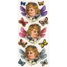 Self Adhesive Stickers Victorian Butterfly Girls 1 Sheet