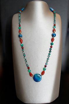 Long multi stone multi colour necklace.