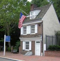 Betsy Ross House Philadelphia PA I visited there recentl visited and was surprised how close her house and Ben Franklin's home were. Lovely place to visit.  You can take a walking tour & see the Liberty Bell, Constitution Hall, the cememtary which many notables are including Ben Franklin.  It's a great place to visit