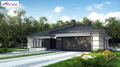 Gotowy projekt domu - Parterowy dom z garażem dwustanowiskowym. Home Building Design, Home Garden Design, Building A House, House Plans Mansion, 4 Bedroom House Plans, Mediterranean Homes, Facade House, Design Case, Modern House Design