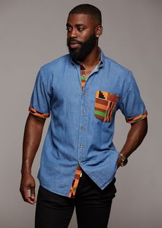 Mosi Men's African Print Denim Shirt (Yellow Green Kente)- Clearance - Women's style: Patterns of sustainability African Shirts For Men, African Dresses Men, African Tops, African Wear, Male African Attire, African Styles For Men, African Outfits, African Women, African Fashion Designers