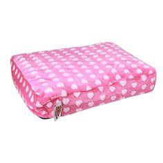 "Ultra-Plush Small Pet Bed by Ten Thousand Dog Beds - Pink Hearts Fleece - 24"" x 18"" x 4"""