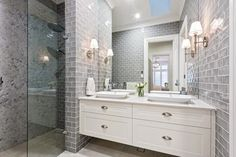 Textures & colour ideas for bathroom This Hamptons style ensuite is designed by Amity Dry and built by Scott Salisbury Homes. Hamptons Style Homes, Hamptons Decor, The Hamptons, Bathroom Renos, Laundry In Bathroom, Bathroom Store, Bad Inspiration, Bathroom Inspiration, Beautiful Bathrooms