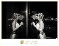 GRAND HYATT, Tampa, Florida, wedding day, wedding reception, just married, bride and groom, husband and wife, kiss, reflection, love, black and white, marriage, wedding photography, Limelight Photography, www.stepintothelimelight.com