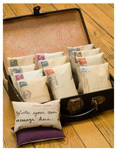I love vintage postcards. Here are a couple of fun ideas to incorporate postcards into crafts.