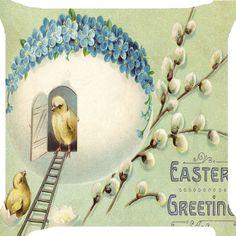 Easter chicks ladder egg sweet home flower funny pillow cushion Cover handmade