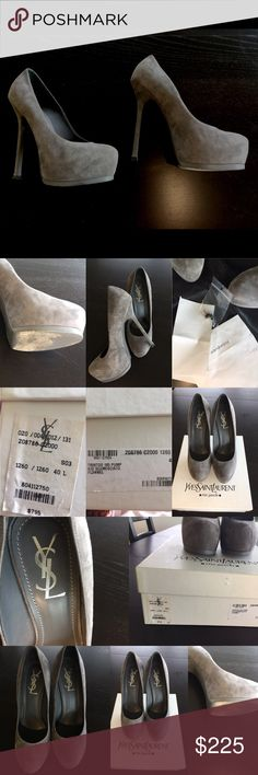 Yves Saint Laurent tribute gray pumps 40/10 Yves Saint Laurent tribute gray pumps 40/10 comes with box original receipt although faded extra replacement heels and dust bag Yves Saint Laurent Shoes Heels