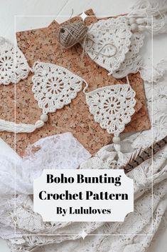 Create beautiful boho Bunting with this simple pattern from Lululoves (diagram included in pdf) Crochet Bunting. Create beautiful boho Bunting with this simple pattern from Lululoves (diagram included in pdf) Crochet Easter, Easter Crochet Patterns, Crochet Diy, Crochet Home Decor, Love Crochet, Crochet Crafts, Crochet Projects, Boho Crochet Patterns, Diy Crochet Garland