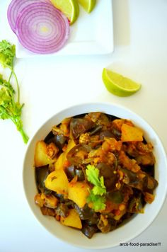 Eggplant and Potato Curry with Fresh Mint