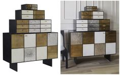 Mixed #metallic Huntley Cabinet from Kelly Wearstler's #modern #furniture collection for EJ Victor