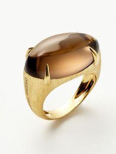Smokey quartz cabochon and 14K yellow gold ring | Marco Bicego