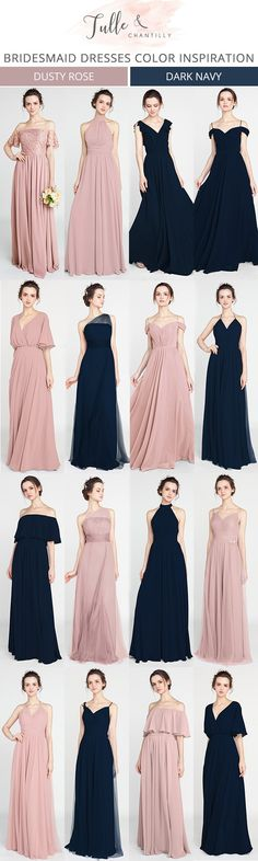 navy blue and dusty rose bridesmaid dresses for 2018 #bridesmaiddresses #bridalparty