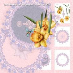 Lavender Lace & Daffodils Dragonfly Doily Decoupage Mini Kit - This pink & purple 8x8 round card features an intricate purple lace trim with golden yellow daffodils and a curious dragonfly.  A beautiful and romantic card perfect for celebrating Easter and other spring holidays.   Art by Hafapea & Jaguarwoman. #CardMakingKits #CraftsUPrint #LisaMayette #Hafapea