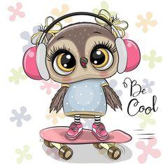 Cute Owl Drawing, Cute Bear Drawings, Animal Drawings, Tier Doodles, Dossier Photo, Cute Owl Cartoon, Kids Cartoon Characters, Fictional Characters, Owl Artwork
