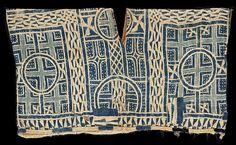 Africa | Grassfields region of Cameroon | Man's tunic | Worn as a masquerade costume or for dance performances | Early C20th | Stitch resist indigo dyed ndop cloth made into a garment