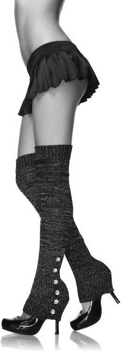 Little tiny pleated skirt and thigh high leg warmers ♥