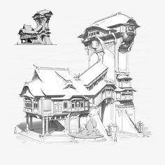 building, pang p House On Stilts, Environment Design, Architecture Details, Concept Art, Fantasy, Landscape, Drawings, Artwork, Artist