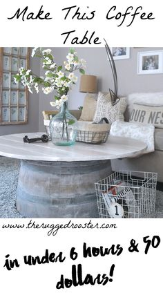 DIY Ideas with Old Barrels - Coffee Table - Rustic Farmhouse Decor Tutorials and Projects with a Bar
