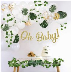 Sweet Baby Co. Boho Fake Greenery Baby Shower Decorations Neutral with Balloon Garland Arch Kit, Oh Baby Banner, Green Ivy Leaf Garland Vines Decoration Decor for Jungle Safari Woodland Backdrop Theme Boho Baby Shower, Baby Shower Table, Gold Confetti Balloons, White Balloons, Latex Balloons, Balloon Garland, Balloon Decorations, Leaf Garland, Green Garland