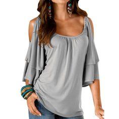 2017 Summer Fashion Women Ruffled T-Shirt Off-Shoulder Shirt Casual Loose Long Sleeve Tops #Affiliate