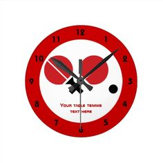 Table tennis ping-pong rackets and ball black, red round wall clocks #tabletennis, #pingpong, #wallclock, #rackets