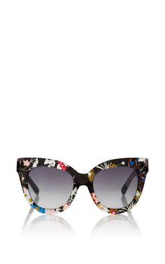4c0a3452f85c Gloria Garden Printed Cat Eye Sunglasses by LINDA FARROW Now Available on  Moda Operandi Cat Eye