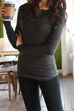 Stylish Long Sleeves Solid Color T-Shirt For Women T-Shirts | RoseGal.com Mobile