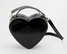 Black Patent Leather Heart Handbag by Moschino Moschino, Black Purses, Black Patent Leather, Fashion Accessories, Handbags, Black And White, My Style, Lust, Inspire