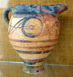 Prehistoric jug with spiral decoration. Thera/Santorini, Akrotiri 17th. cent. BC Greek excavation 1967 - 1968 Thera/Santorini, Archaeological Museum Fira