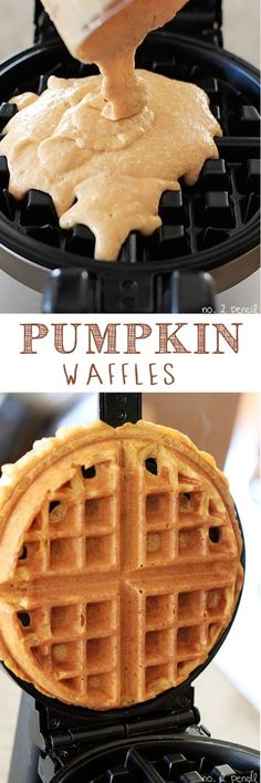 Pumpkin Waffles - crispy on the outside and tender and fluffy on the inside! Add some chocolate chips to these bad boys. Pumpkin Waffles - crispy on the outside and tender and fluffy on. Breakfast Desayunos, Breakfast Dishes, Breakfast Recipes, Mexican Breakfast, Pumpkin Waffles, Pumpkin Pumpkin, Pumpkin Foods, Waffle Recipes, Best Waffle Recipe