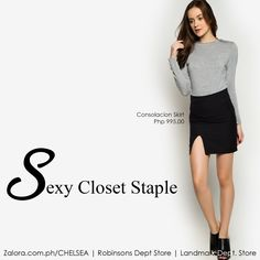 Consolacion Skirt features a classic mini lengb with a cheeky front slit.  #zaloraph #robinsonsdeptstore #shopatchelsea #fbloggersuk #fbloggers #philippines #shopping #skirt #ootd