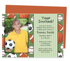 Kids Party : Sports Kids Birthday Party Invitation Template