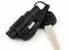 This key chain attachment allows you to cut your seatbelt and punch out the car window in case of an emergency.