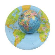 "Custom Paper Plates 7"" 7 Inch Paper Plate #dishware #traveling #dish #worldmap #spherical"