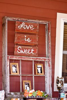 Window pane from Old Barn... Siding from same old barn... Jute/Twine... Pics of Bride & Groom... All hand-made by bride for candy buffet centerpiece.